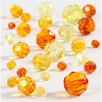 Mix perline sfaccettate, misura 4-12 mm, misura buco 1-2,5 mm, giallo, 45 g/ 1 conf.