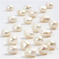 Perle d'acqua dolce, misura 4-6 mm, misura buco 1 mm, madreperla, 40 cm/ 1 filo