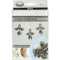 Decorazioni angelo, H: 5,5 cm, L: 4,5 cm, argento, 4 pz/ 1 conf.
