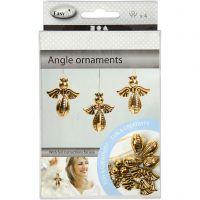 Decorazioni angelo, H: 5,5 cm, L: 4,5 cm, oro, 4 pz/ 1 conf.