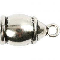 Chiusure bracciale, misura 11x20 mm, misura buco 6 mm, argento antico, 40 pz/ 1 conf.