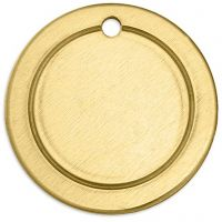 Targhetta in metallo, anello, diam: 20 mm, misura buco 1,85 mm, spess. 1 mm, ottone, 6 pz/ 1 conf.
