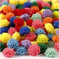 Perline fiore, misura 15x8 mm, misura buco 1,5 mm, colori asst., 10x25 pz/ 1 conf., 300 ml