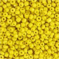 Perline rocaille, diam: 3 mm, misura 8/0 , misura buco 0,6-1,0 mm, giallo, 25 g/ 1 conf.