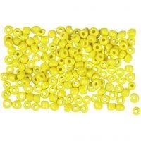 Perline rocaille, diam: 3 mm, misura 8/0 , misura buco 0,6-1,0 mm, giallo, 500 g/ 1 conf.