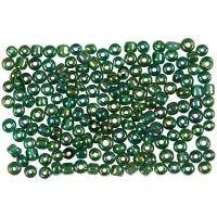 Perline rocaille, diam: 3 mm, misura 8/0 , misura buco 0,6-1,0 mm, verde petrolio, 500 g/ 1 conf.