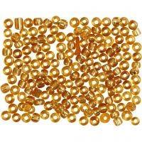 Perline rocaille, diam: 3 mm, misura 8/0 , misura buco 0,6-1,0 mm, oro, 500 g/ 1 conf.