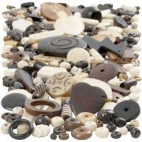 Mix perline di osso, misura 5-30 mm, misura buco 1-2 mm, 300 g/ 1 conf.