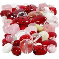 Perle di vetro, Coccinelle, foglie, cuori, misura 5-22 mm, misura buco 0,5-1,5 mm, colori asst., 60 g/ 1 conf.