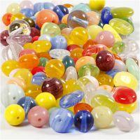 Perle di vetro, tondo, ovale, circolare, diam: 6-13 mm, misura buco 0,5-1,5 mm, colori asst., 350 g/ 1 conf.
