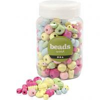 Perle di legno, diam: 10-15 mm, misura buco 3-5 mm, azzurro, verde chiaro, rosso chiaro, giallo chiaro, 400 ml/ 1 secch.