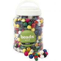 Perline di legno, diam: 8+10+12 mm, misura buco 2-2,5 mm, colori asst., 400 ml/ 1 secch., 175 g