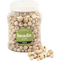 Perline di legno, diam: 8+10+12+15 mm, misura buco 2-3 mm, 400 ml/ 1 secch., 175 g
