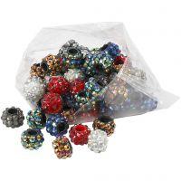 Perline con diamanti sintetici, misura 9x13 mm, misura buco 5 mm, colori asst., 6x10 pz/ 1 conf.