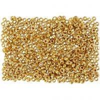 Perline rocaille, diam: 1,7 mm, misura 15/0 , misura buco 0,5-0,8 mm, ottone, 500 g/ 1 sacco