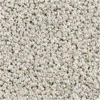 Perline rocaille, diam: 1,7 mm, misura 15/0 , misura buco 0,5-0,8 mm, argento metallizzato, 25 g/ 1 conf.