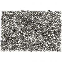 Perline rocaille, diam: 1,7 mm, misura 15/0 , misura buco 0,5-0,8 mm, grigio metallo, 500 g/ 1 sacco