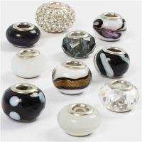 Perline in vetro, diam: 13-15 mm, misura buco 4,5-5 mm, armonia nero/bianco, 10 asst./ 1 conf.