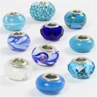 Perline in vetro, diam: 13-15 mm, misura buco 4,5-5 mm, armonia blu, 10 asst./ 1 conf.