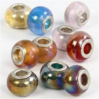 Perline in vetro, diam: 13-15 mm, misura buco 4,5-5 mm, 10 asst./ 1 conf.
