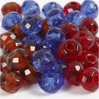 Perline sfaccettate, misura 9x14 mm, misura buco 4 mm, blu, marrone, rosso, 36 pz/ 1 conf.