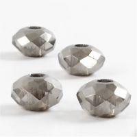 Perline sfaccettate, misura 9x14 mm, misura buco 4 mm, grigio scuro, 4 pz/ 1 conf.