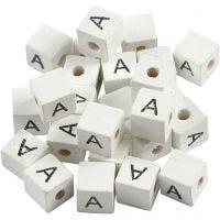 Perlina lettera, A, misura 8x8 mm, misura buco 3 mm, bianco, 25 pz/ 1 conf.