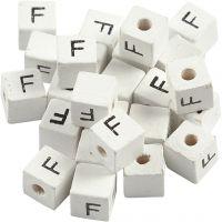 Perlina lettera, F, misura 8x8 mm, misura buco 3 mm, bianco, 25 pz/ 1 conf.