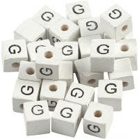 Perlina lettera, G, misura 8x8 mm, misura buco 3 mm, bianco, 25 pz/ 1 conf.
