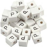 Perlina lettera, P, misura 8x8 mm, misura buco 3 mm, bianco, 25 pz/ 1 conf.
