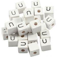 Perlina lettera, U, misura 8x8 mm, misura buco 3 mm, bianco, 25 pz/ 1 conf.