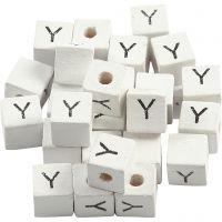 Perlina lettera, Y, misura 8x8 mm, misura buco 3 mm, bianco, 25 pz/ 1 conf.