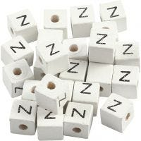 Perlina lettera, Z, misura 8x8 mm, misura buco 3 mm, bianco, 25 pz/ 1 conf.