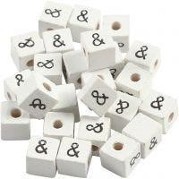 Perlina simbolo, &, misura 8x8 mm, misura buco 3 mm, bianco, 25 pz/ 1 conf.