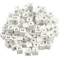 Perlina lettera, A-Z, &, #, ?, misura 8x8 mm, misura buco 3 mm, bianco, 96 asst./ 1 conf.