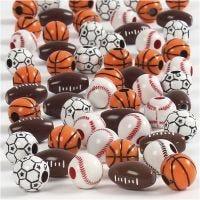 Perle sport, misura 11-15 mm, misura buco 3-4 mm, colori asst., 45 g/ 1 conf.