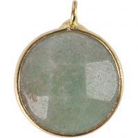 Gioiello pendente, Pietra semipreziosa: amazzonite verde, diam: 15 mm, misura buco 2 mm, verde, 1 pz