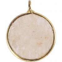 Gioiello pendente, Pietra semipreziosa: giada beige, diam: 15 mm, misura buco 2 mm, beige, 1 pz