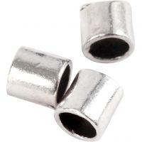 Perle a tubo ondulate, misura 2x2 mm, misura buco 1,4 mm, placcato argento, 80 pz/ 1 conf.