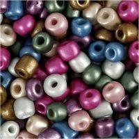 Perline rocaille, diam: 5 mm, misura 4/0 , misura buco 1,2 mm, colori metallici, 720 g/ 1 vasch.