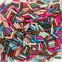 Mix perle, L: 6 mm, diam: 1,5-2 mm, misura buco 1 mm, colori metallici, 130 g/ 1 conf.