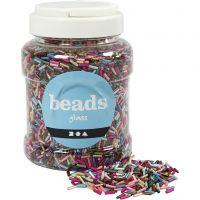 Mix perle, L: 6 mm, diam: 1,5-2 mm, misura buco 1 mm, colori metallici, 520 g/ 1 vasch.