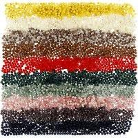 Perle in plastica, diam: 6 mm, misura buco 1,5 mm, colori asst., 10x40 g/ 1 conf.