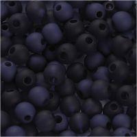 Perle in plastica, diam: 6 mm, misura buco 2 mm, blu, 40 g/ 1 conf.