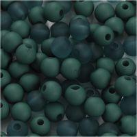 Perle in plastica, diam: 6 mm, misura buco 2 mm, bottle green, 40 g/ 1 conf.