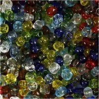 Perline rocaille, diam: 4 mm, misura 6/0 , misura buco 0,9-1,2 mm, lucido trasparente, 130 g/ 1 conf.