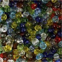 Perline rocaille, diam: 4 mm, misura 6/0 , misura buco 0,9-1,2 mm, lucido trasparente, 1000 g/ 1 conf.