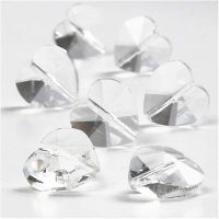 Perline di cristallo, a forma di cuore, misura 14 mm, misura buco 1 mm, lucido trasparente, 30 pz/ 1 conf.