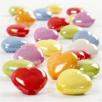 Perline cuore, misura 25x15 mm, misura buco 3 mm, 125 ml/ 1 conf., 70 g
