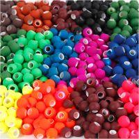 Perline, misura 8x10 mm, misura buco 5 mm, colori asst., 20x21 g/ 1 conf.